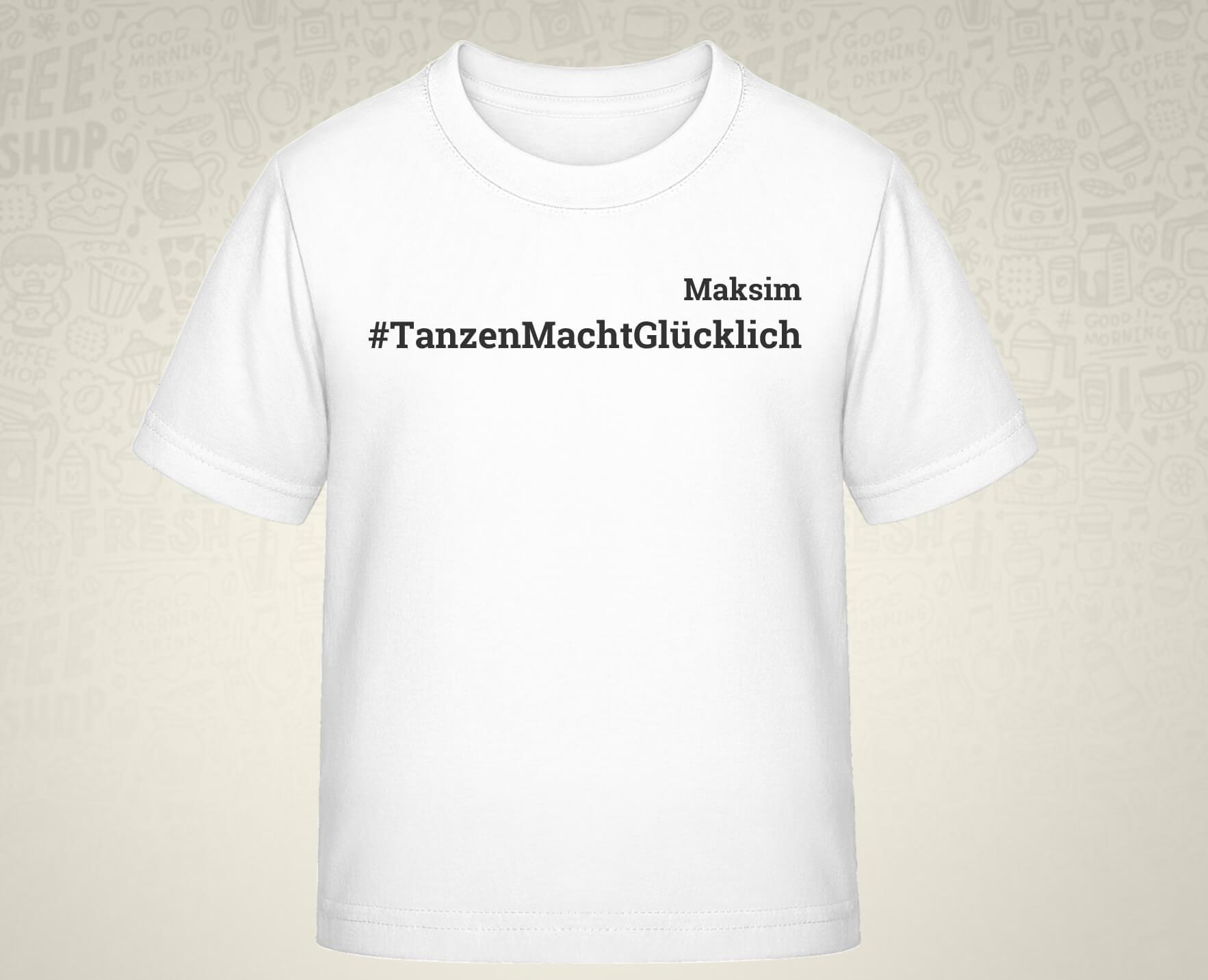 #TanzenMachtGlücklich T-Shirt für Kids in weiß